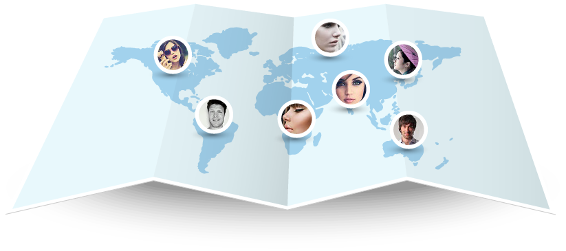 World map containing user images pinned to their locations